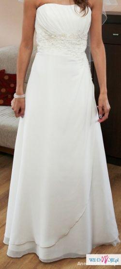 Muślinowa delikatna suknia ślubna