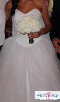 Najpiękniejsza suknia ślubna typu KSIĘŻNICZKA PRINCESSA rozm 36 z welonem