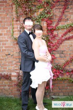 Niebanalna suknia ślubna (wrzos+ecru), zmienna długość!!!