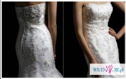 Niepowtarzalna, przepięknie ozdobiona suknia ślubna rybka, Blue by Enzonii, USA