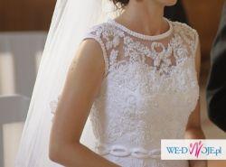 Niepowtarzalna suknia ślubna koronkowe plecy rozm. 36