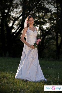 Niepowtarzalna suknia,szeleczka na szyję,dekolt