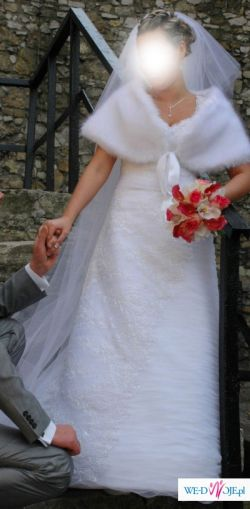 Niepowtarzalnie piękna suknia ślubna CLASSA-biel 38/40
