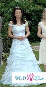 Niezwykła Oryginalna Błękitna Suknia Ślubna