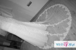 NOWA biała suknia ślubna koronki tren bolerko