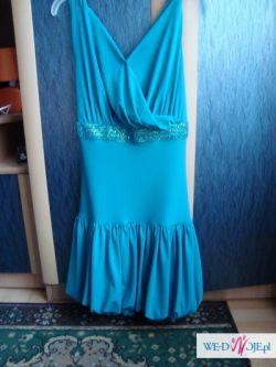 nowa elegancka suknia roz 38 - niebieska na ramiączkach