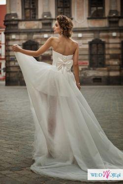 Nowa, krótka, asymetryczna suknia ślubna Annais Harriet, w cenie dopasowanie