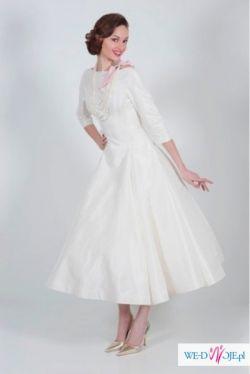 nowa sukienka retro satynowa biała krótka lata 50te  okazja!