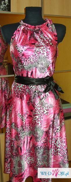 NOWA sukienka w RÓŻOWĄ PANTERKĘ