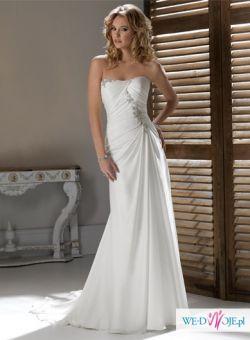 Nowa, szyfonowa suknia ślubna ze srebnymi dodatkami i koronkowe bolerko gratis