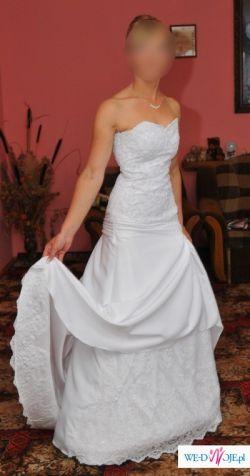 OKAZJA!Sprzedam suknię ślubną z trenem: SKROMNA, GUSTOWNA, DZIEWCZĘCA...