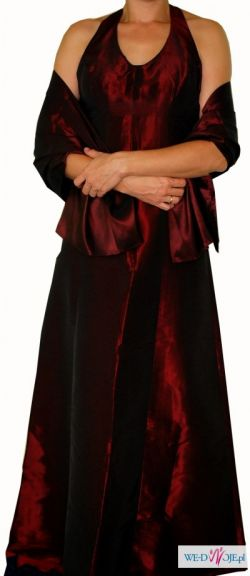 Okazja! Suknia wieczorowa z tafty w kolorze czerwonego wina