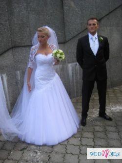 Olśniewająca suknia ślubna dla wymagaj,ącej Panny Młodej, rozmiar 38