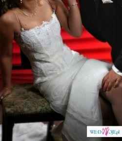 Oryginalna:skromna i koronkowa suknie ślubna!!!!