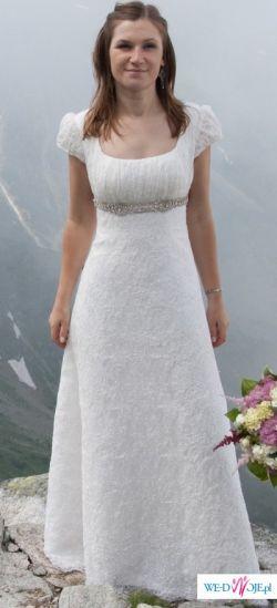 Oryginalna, subtelna i romantyczna suknia ślubna (józefinka, empire)
