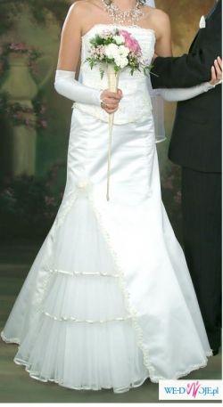 Oryginalna suknia ślubna biała/ecru r.36/38 ŁÓDŹ/BIAŁA PODL.