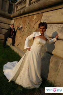 Oryginalna suknia ślubna z długim trenem - OKAZJA!