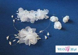 Ozdoby ślubne - biały stroik i naszyjnik