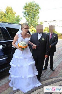 perełka śnieżnobiała suknia ślubna r.40