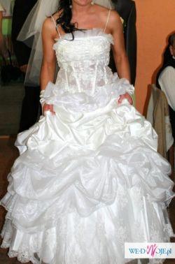 Pięka śnieżnobiała suknia ślubna rozmiar 36-38