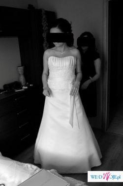 Piękna, biała, dwuczęściowa suknia ślubna,zdobiony gorset,prosta spódnica