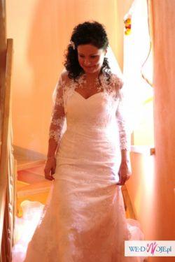 Piękna biała suknia + dodatki. Tanio!