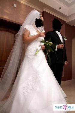 Piękna, biała suknia ślubna SARA, jednoczęściowa, rozmiar 38/40 + GRATISY