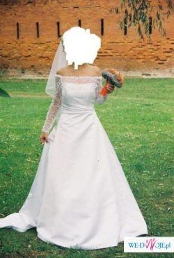 Piękna, elegancka biała suknia ślubna o rozm. 34