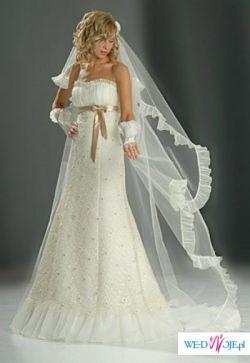 Piękna i niebanalna suknia Sarah ecru ze złotą koronką r. mała 40
