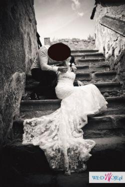PIĘKNA i ZJAWISKOWA suknia ślubna rybka + bolerko GRATIS