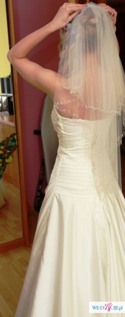 Piękna jednoczęściowa suknia ślubna + welon gratis