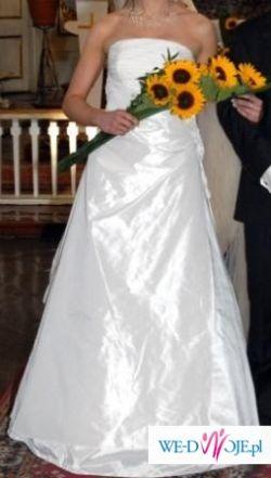 piękna klasyczna perłowa suknia ślubna