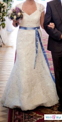 piękna koronkowa suknia ślubna biała śmietankowa 36-38