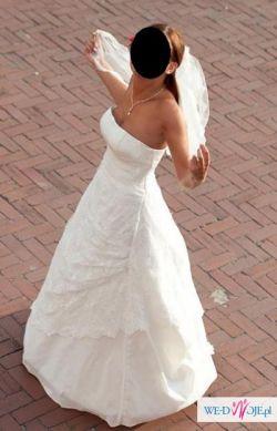 Piękna koronkowa suknia ślubna, ecru, 38 + dodatki