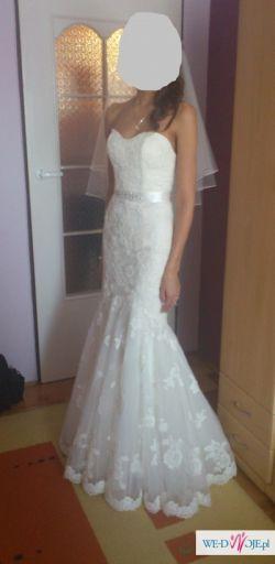 piękna koronkowa suknia ślubna r. 34/36