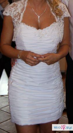 Piękna, krótka sukienka ślubna