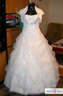 Piękna NOWA śnieżno-biała suknia ślubna z bolerkiem 36 ZA SYMBOLICZNĄ KWOTE