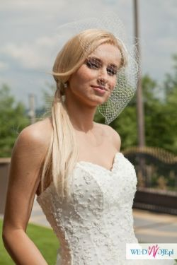 piękna oryginalna suknia ślubna r.34/36 księżniczka najtaniej!