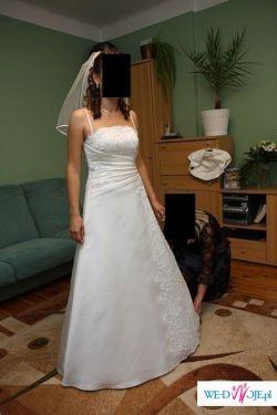 Piękna,skromna suknia ślubna plus dodatki