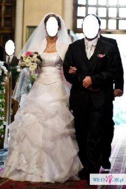 Piękna śnieżno-biała suknia ślubna z bolerkiem jak nowa 36