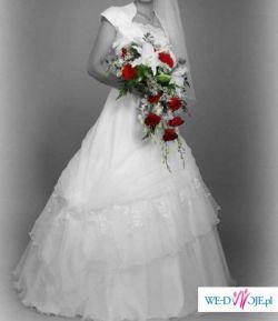 Piękna śnieżnobiała suknia slubna w okazyjnej cenie