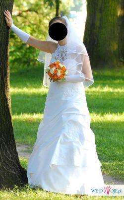 Piękna śnieżnobiała suknia ślubna wraz z dodatkami !!!