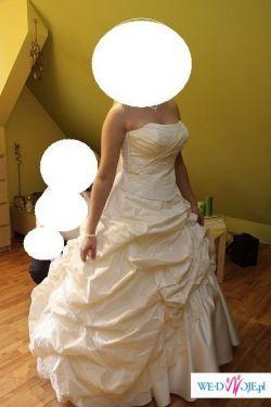 Piękna sukienka ecru/morelowa z tafty inteligentnej + bolerko