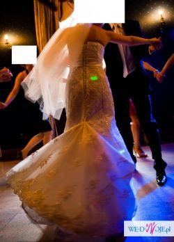 Piekna suknia ecru w idealnym stanie + bolerko i buty gratis!! 36-38