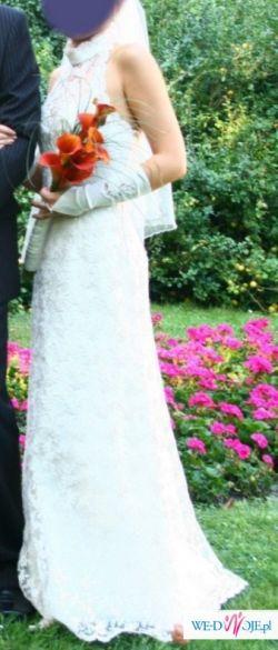 piękna suknia ecru z hiszpańskiej koronki