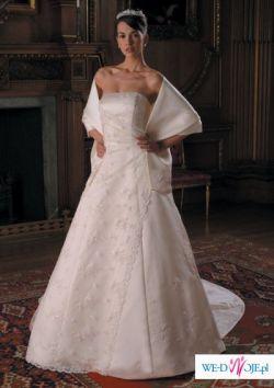 Piękna suknia hiszpańskiej firmy wyszwana kryształkami Svarowskiego