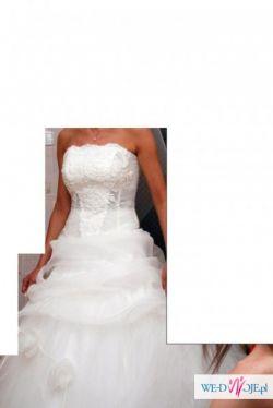Piekna suknia ślubn, gorset z kryształkami SWAROVSKIEGO + Gratis