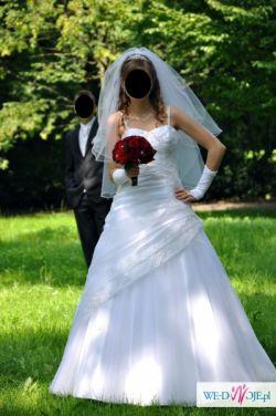 Piękna Suknia Ślubna 36/38 + dodatki - Olsztyn OKAZJA !!!