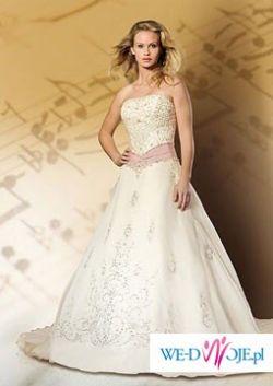 Piękna Suknia Ślubna Aspera z halką, 2 welony, 2 pary butów ślubnych zestaw