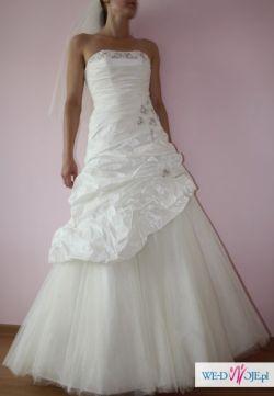 Piękna suknia ślubna!!! ecri, rozm.36/38